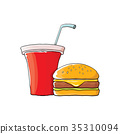 vector cartoon tasty burger and cola paper cup 35310094