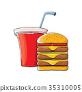 vector cartoon tasty burger and cola paper cup 35310095