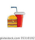 vector cartoon tasty burger and cola paper cup 35310102
