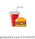 vector cartoon tasty burger and cola paper cup 35310103