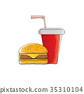 vector cartoon tasty burger and cola paper cup 35310104