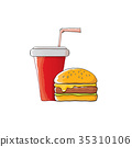vector cartoon tasty burger and cola paper cup 35310106