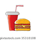 vector cartoon tasty burger and cola paper cup 35310108