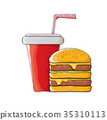 vector cartoon tasty burger and cola paper cup 35310113