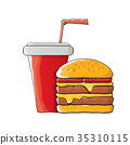 vector cartoon tasty burger and cola paper cup 35310115