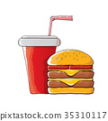 vector cartoon tasty burger and cola paper cup 35310117