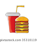 vector cartoon tasty burger and cola paper cup 35310119
