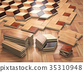 Stack ofr parquet wooden planks. Few types 35310948