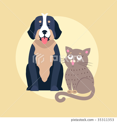 Cute Dog and Cat Cartoon Flat Vector Icon 35311353
