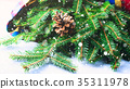 Fir tree branches winter mood with scarf 35311978