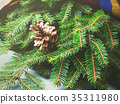 Fir tree branches winter mood with scarf 35311980