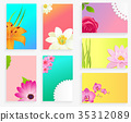 Vector Poster of Colorful Blossoms Set on Greeting 35312089