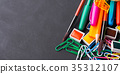 Colorful stationery back to school concept on dark 35312107