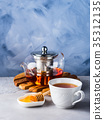 Teapot of red tea and honey 35312135