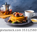 Stack of pumpkin pancakes with figs and honey 35312560