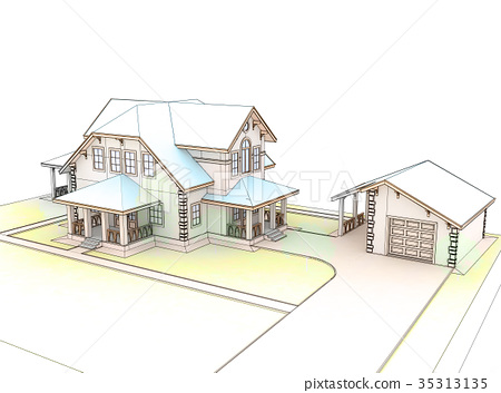 Render 3d cottage with a blue roof 35313135
