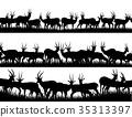 Silhouettes of herd of antelope in African sav 35313397