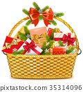 Vector Basket with Christmas Gifts 35314096