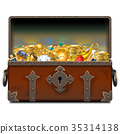Vector Old Pirate Forged Chest with Gold 35314138