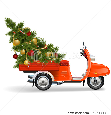 Vector Orange Scooters with Christmas Tree 35314140