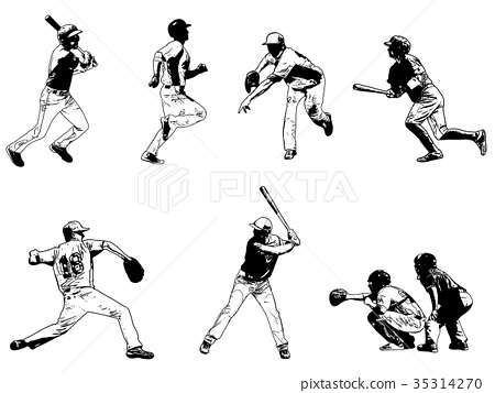 baseball players set - sketch illustration 35314270