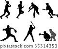 baseball, silhouette, ball 35314353