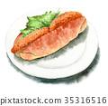 麵包 水彩畫 肉餅餡麵包三明治 35316516