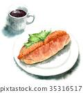 麵包 水彩畫 肉餅餡麵包三明治 35316517