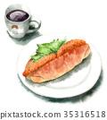 麵包 水彩畫 肉餅餡麵包三明治 35316518