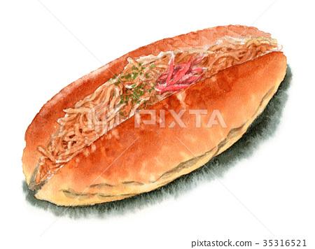 Yakisoba卷麵包塗上水彩 35316521