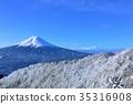 ท้องฟ้าสีฟ้ากลางฤดูหนาวภูเขาฟูจิและภูมิทัศน์น้ำแข็ง 35316908