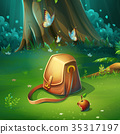 illustration of background forest glade with bag 35317197