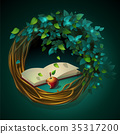 Vector cartoon illustration wreath book and apple 35317200