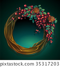 Wreath of vines and leaves ash berry cedar cones 35317203