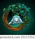 Vector cartoon illustration wreath of vines bunny 35317252