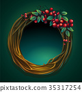 Vector cartoon illustration wreath vines ashberry 35317254
