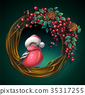 Wreath of vines with ash berry and bullfinch 35317255