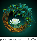 Wreath of vines and leaves with Nymphaea 35317257