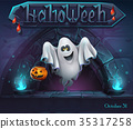 Halloween background with Ghost with pumpkin 35317258