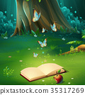 Vector illustration background forest glade book 35317269