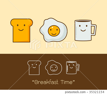 a coffee, eggs and toast Vector illustration. 35321154