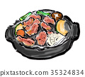 jingisukan, slotted dome cast iron grill, meat dish 35324834