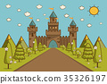 Cartoon Illustration of Tale Castle on Hill  35326197