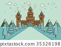 Cartoon Illustration of Tale Castle on Hill 35326198