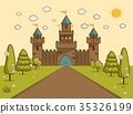 Cartoon Illustration of Tale Castle on Hill  35326199