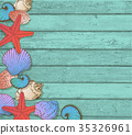 Sea shells on a wooden background. 35326961