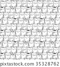 Hand drawn cats vector pattern. Doodle art. 35328762
