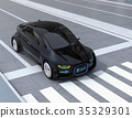 A concept of communication between a car and a pedestrian with a sign of safety passing displayed on the front part of an autonomous driving car 35329301