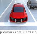 在自動駕駛汽車的前部顯示關於進入後續汽車的警告警告,以及汽車與行人之間的瞄准通信的概念 35329315