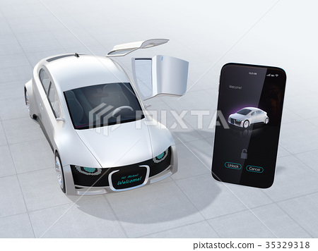스마트 폰에서 차문을 여는하여 앞 부분에 운전사의 이름이 표시되어있다. 카 쉐어링 개념 35329318